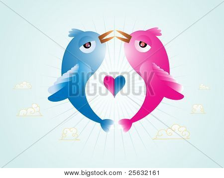 Abstract illustration of vector Birds in love with an heart in the middle.