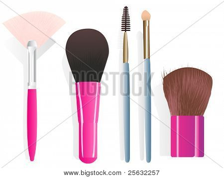 Set of five different make-up brushes. Linear and radial gradients only.