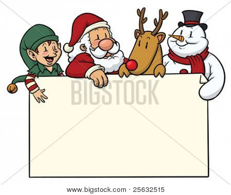 Christmas card with cute characters on top
