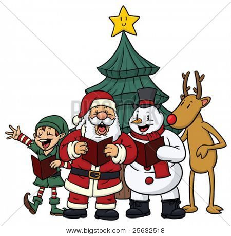 Cute cartoon Christmas characters singing