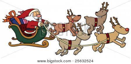 Cute cartoon Santa Claus on his sled.