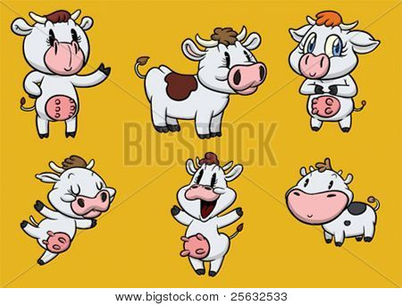 Cute cartoon cows. All characters are on different layers.