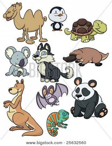 Ten cute cartoon animals. All in different layers for easy editing.