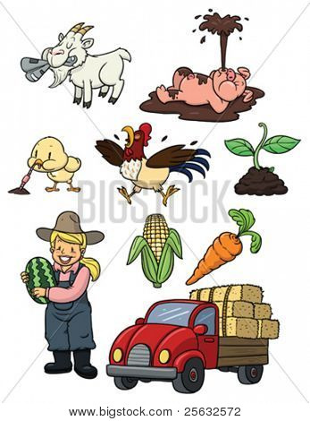 Cute cartoon farming elements. All in separate layers for easy editing.