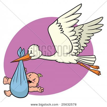 Cute cartoon stork carrying a newborn baby.