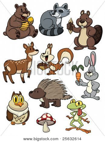 Cute cartoon forest animals. All characters in different layers for easy editing.