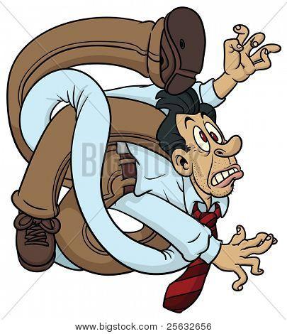 Funny cartoon tangled employee.