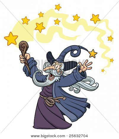 "Cartoon wizard casting a spell. Character,stars and ""magic spell! on different layers for easy editing."