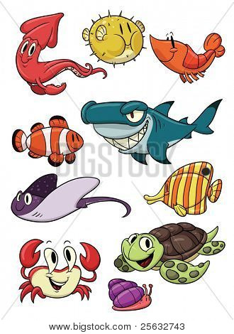 Cute cartoon sea creatures. All in different layers for easy editing.