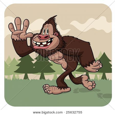 Funny cartoon big foot walking. Character and background on different layers for easy editing.