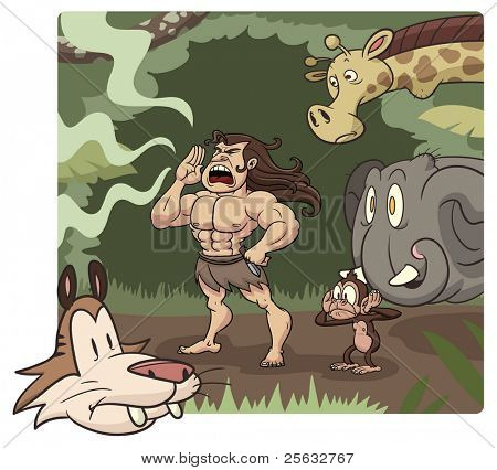 Cartoon Tarzan character yelling with animals in the background. The elements are placed in four different layers for easy editing. Background can be taken out.