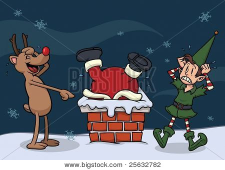 Cute cartoon Santa Claus stuck in chimney. All elements can be used separately.They are placed in different layers.