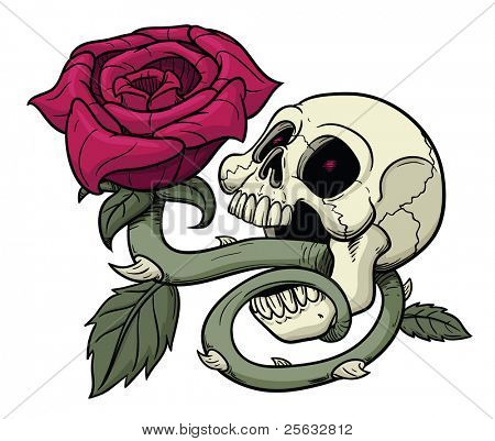 Vector illustration of skull with rose coming out of it mouth.