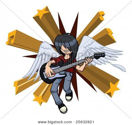 Cartoon rocker angel. Background, wings and character on separate layers for easy editing.