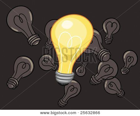 A lit cartoon light bulb floating between turned off ones. The elements are in four different layers for easy editing.