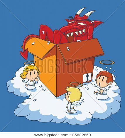 Vector illustration of a devil in a box with angels looking at him.
