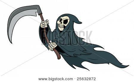Grimm reaper cartoon vector illustration.