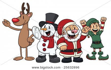 Four cute cartoon Christmas characters. All in separate layers for easy editing.