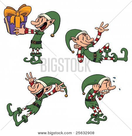 Cute cartoon elf in different poses. All elements in separate layers for easy editing.