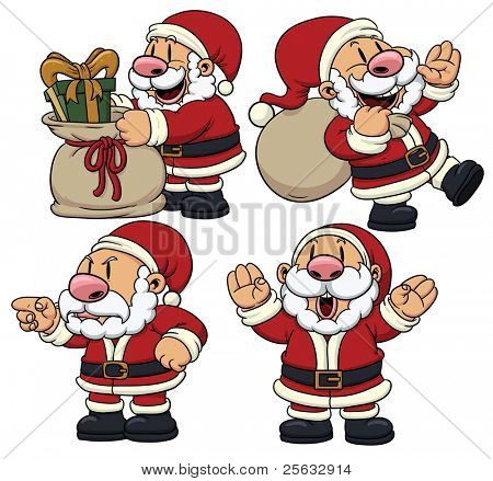 Four cute cartoon Santa Claus characters. All in separate layers for easy editing.