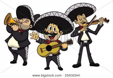 Three cartoon mariachis, all in separate layers for easy editing.