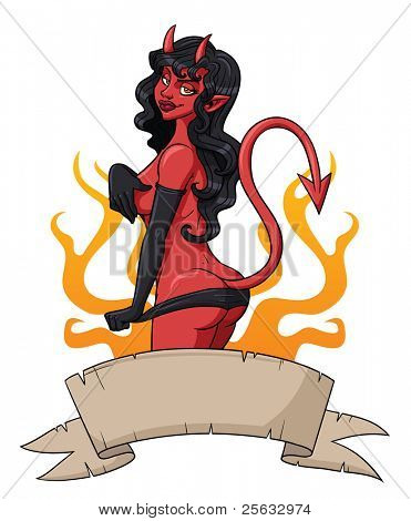 Pin-up of a sexy she-devil with a old looking banner on front and flames in the background. All elements on separate layers for easy editing.