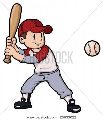 Cartoon boy playing baseball. Baseball and character on separate layers for easy editing.