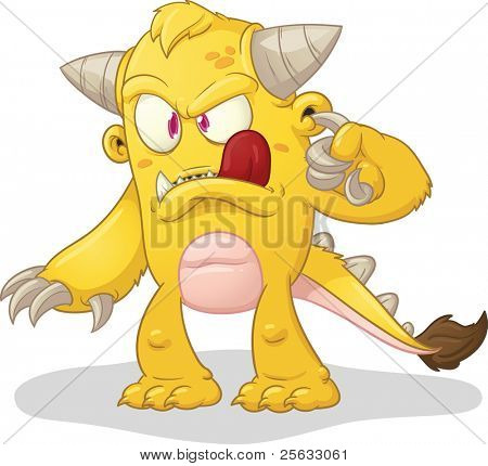 Cartoon monster cleaning wax of its ear. Vector illustration with simple gradients. Character and shadow on separate layers for easy editing.