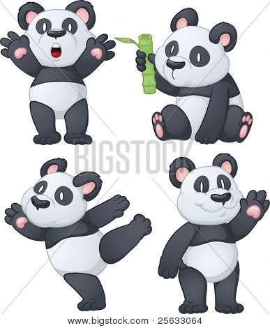 Four cartoon panda bears. Vector illustration using simple gradients. All characters are on separate layers for easy editing.