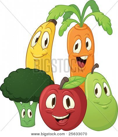Cute cartoon fruits and vegetables. All in separate layers for easy editing. Vector illustration with simple gradients.
