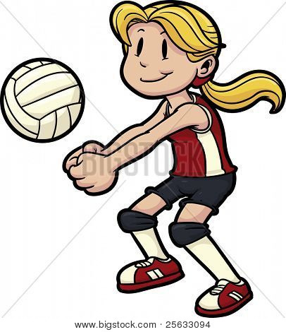 Girl playing volleyball. Girl and volleyball on separate layers for easy editing.
