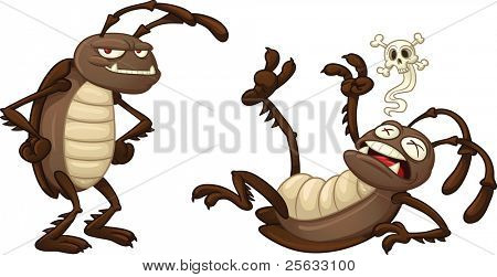 Two cartoon cockroaches, one alive and one dead. Vector illustration with simple gradients. Both characters on separate layers for easy editing.