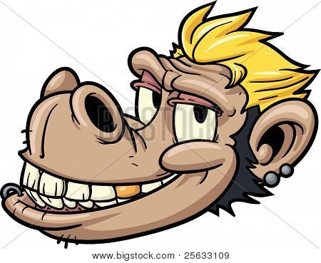 Vector illustration of a sleazy monkey.