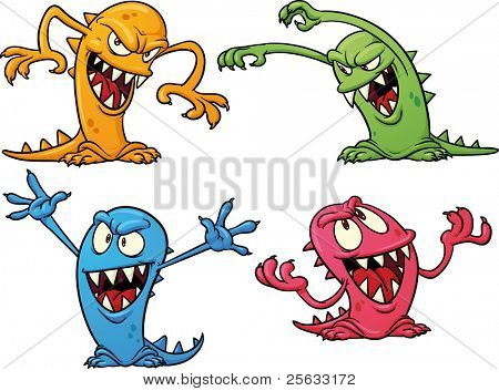 Four colorful Halloween monsters. Vector illustration with simple gradients. All in separate layers for easy editing.