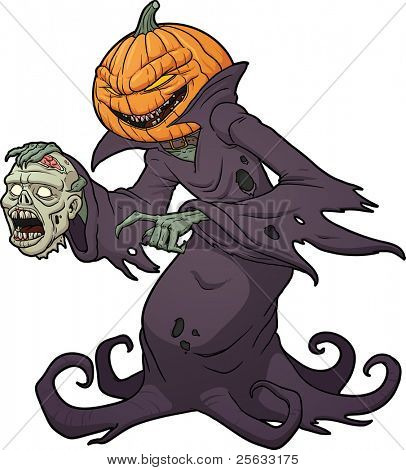Scary Halloween pumpkin monster holding a severed zombie head. Vector illustration with simple gradients.