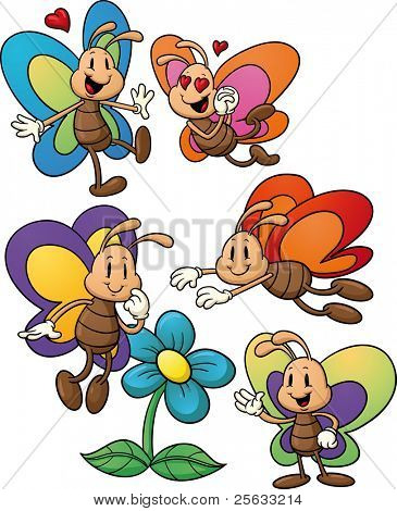 Cute cartoon butterflies. Vector illustration with simple gradients. All elements in separate layers for easy editing.
