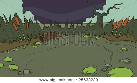 Cartoon swamp background. Vector illustration. One single layer.