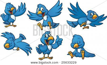 Cute cartoon blue birds. Vector illustration with simple gradients. All elements in separate layers for easy editing.