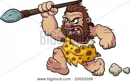 Cartoon caveman running with a spear in hand. Vector illustration with simple gradients. All in a single layer.