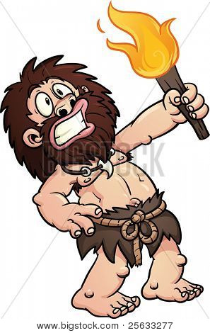 Cartoon caveman discovering fire. Vector illustration with simple gradients.