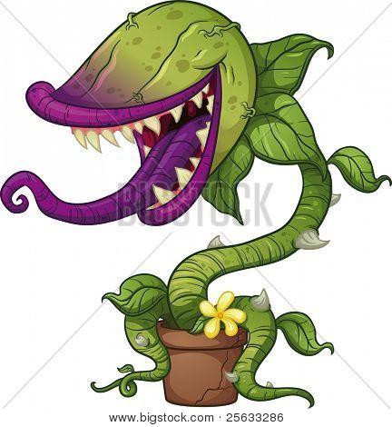 Cartoon fleischfressende Pflanze. Vektor-Illustration mit einfachen Farbverläufen. alle in einer einzigen Schicht.