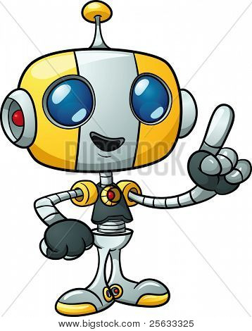 Cute cartoon robot holding finger up. Vector illustration with simple gradients. All in a single layer.