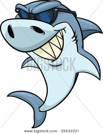 Cool cartoon shark wearing shades. Vector illustration.