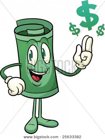 Cute paper money character. Vector illustration with simple gradients. All elements in two layers for easy editing.