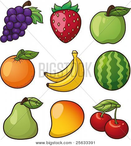 Nine vector fruits. Vector illustration with simple gradients. All elements in separate layers for easy editing.