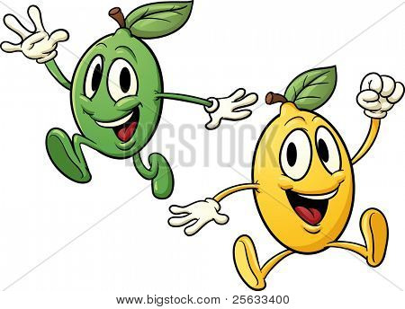 Cartoon lemon and lime jumping and happy. Vector illustration with simple gradients. Both characters on separate layers for easy editing.