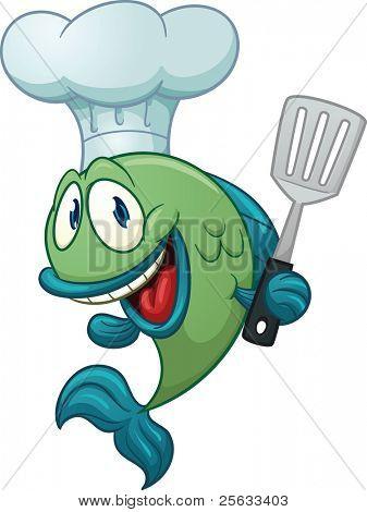 Dibujos animados de pescado del chef con una espátula de cocina. Ilustración de vector con gradientes simples. Todo en un pecado