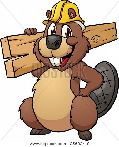 Cute cartoon beaver wearing a construction hat and holding a plank of wood. Vector illustration with simple gradients. All in a single layer.