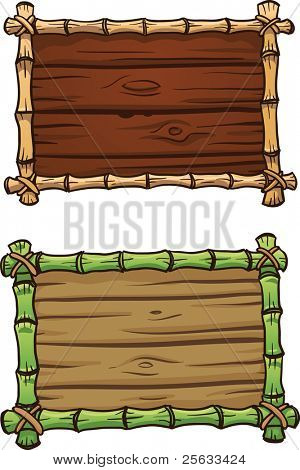 Two cartoon bamboo frames. Both in separate layers for easy editing. Vector illustration with simple gradients.