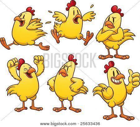 Pollo amarillo de dibujos animados lindo. Ilustración de vector con gradientes simples. Todo en capas separadas para e